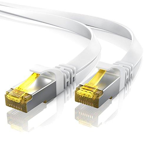 15,0m CAT.7 Cable de red plano   Cable de conexión a Ethernet Lan (RJ45)   10/100/1000Mbit/s   U / FTP   Compatible con CAT.5 / CAT.5e / CAT.6   Conmutador / router / módem   blanco