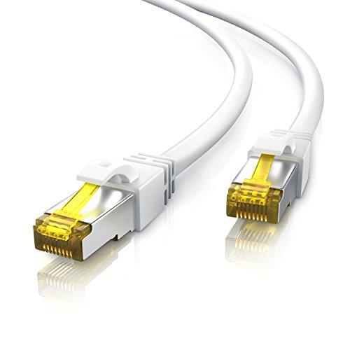 20m Cable de red Gigabit Ethernet Lan CAT.7 (RJ45) | 10/100/1000Mbit/s | Cable de conexión a red | S/FTP | Compatible con CAT.5 / CAT.5e / CAT.6 | Conmutador/router/módem/panel de conexiones/punto de acceso/campos de conexión | blanco