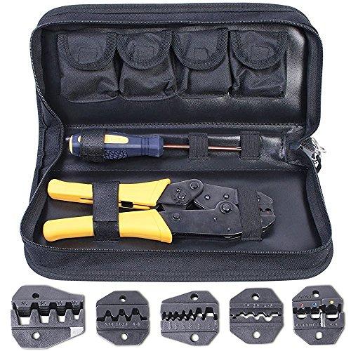 Amzdeal Estuche con Crimpadora, Conjunto de Crimpadora, 5 Accesorios y Destornillador Con Caja de Almacenamiento