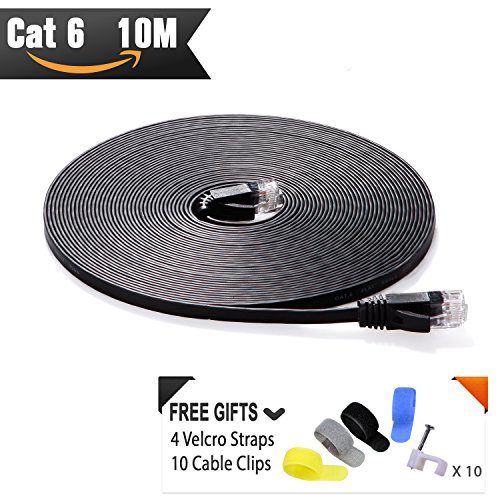 Cable de red Ethernet Cat6 10 Metros Negro (Al Precio de Cable Cat5e pero Mayor Ancho de Banda) Cables Cat 6 Planos para redes de Internet, LAN Gigabit de Alta Velocidad para Enrutadores/Módems