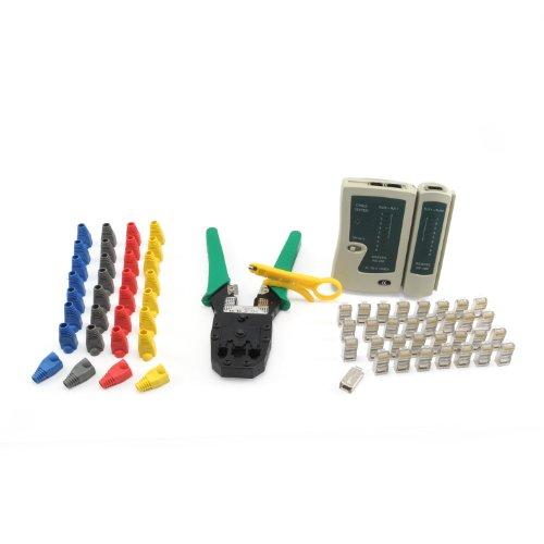 Incutex kit de herramientas de red – Crimpadora, probador de cables, conector de red, vainas de plástico, cortador de cables LAN