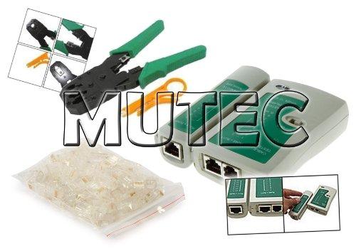 Kit MutecPower de herramientas de cable de red. Probador de cable + alicates + 100 conectores RJ45 + pelacables.