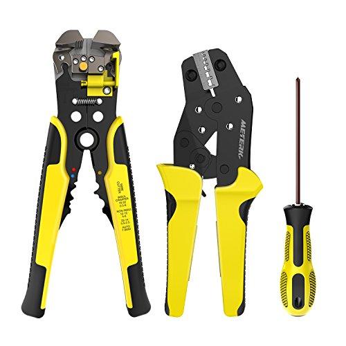 KKmoon JX-D4301 Profesional 4 en 1 Kit de Herramientas de Crimper de Alambre,Alicates para prensar Terminal de Trinquete,Herramienta de Cremallera de Virola,Separador de Alambre,(Amarillo y Negro)