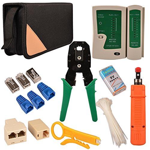 MyArmor profesional 11-in-1red instalación mantenimiento reparación herramientas Set (comprobador de cable, pelacables, crimpadora, batería de 9V, RJ-45, conectores y tapas de cristal, Internet 2Vías conectores, cable ties) con organizador bolsa