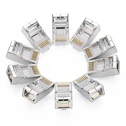 UGREEN 10 Unidades de Conectores RJ45 Blindados 8PCS STP para Cable Ethernet Cat6, Chapados en Oro